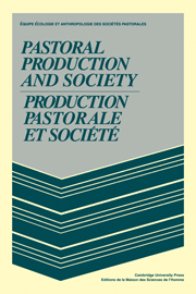 Pastoral Production and Society/Production pastorale et société