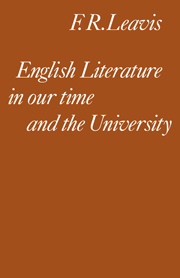 English Literature in our Time and the University