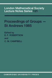 Proceedings of Groups - St. Andrews 1985
