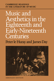 Music and Aesthetics in the Eighteenth and Early Nineteenth Centuries