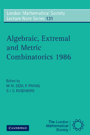 Algebraic, Extremal and Metric Combinatorics 1986