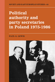 Political Authority and Party Secretaries in Poland, 1975–1986