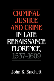 Criminal Justice and Crime in Late Renaissance Florence, 1537–1609