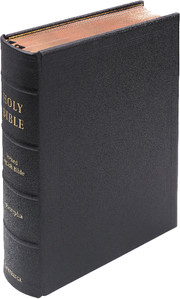 REB Lectern Bible with Apocrypha, Black Goatskin Leather over Boards, RE936:TAB