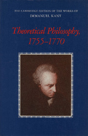 Theoretical Philosophy, 1755–1770