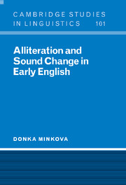 Alliteration and Sound Change in Early English by Donka Minkova