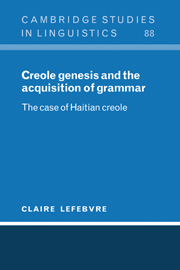 Creole Genesis and the Acquisition of Grammar