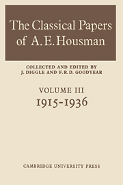 The Classical Papers of A. E. Housman