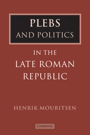 Plebs and Politics in the Late Roman Republic