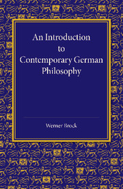 An Introduction to Contemporary German Philosophy