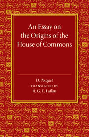 An Essay on the Origins of the House of Commons