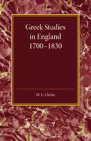 Greek Studies in England 1700–1830