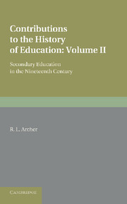 Contributions to the History of Education