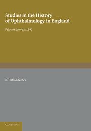 Studies in the History of Ophthalmology in England