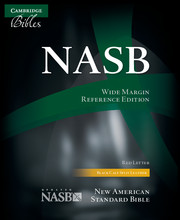 NASB Wide Margin Reference Bible, black calfsplit leather, red letter text