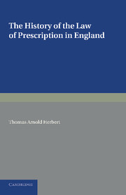 The History of the Law of Prescription in England