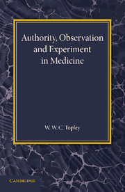 Authority, Observation and Experiment in Medicine