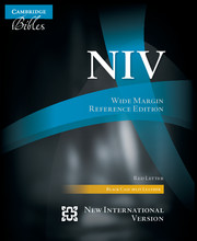 NIV Wide Margin Reference Bible, Black Calf Split Leather, Red-letter Text, NI744:XRM