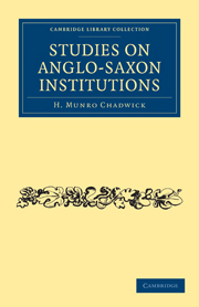 Studies on Anglo-Saxon Institutions