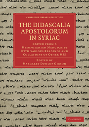 The Didascalia Apostolorum in Syriac