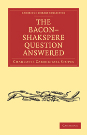The Bacon–Shakspere Question Answered