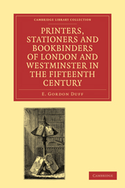 Printers, Stationers and Bookbinders of London and Westminster in the Fifteenth Century