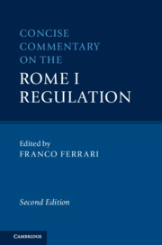 Concise Commentary on the Rome I Regulation