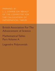 Mathematical Tables Part-Volume A: Legendre Polynomials